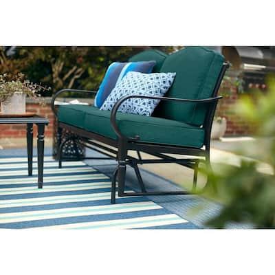Laurel Oaks Dark Brown Steel Outdoor Patio Glider with CushionGuard Malachite Green Cushions