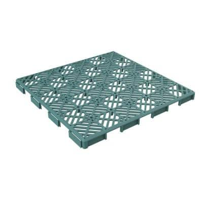 11.5 in. x 11.5 in. Outdoor Interlocking Diamond Pattern Polypropylene Patio and Deck Tile Flooring in Green (Set of 12)