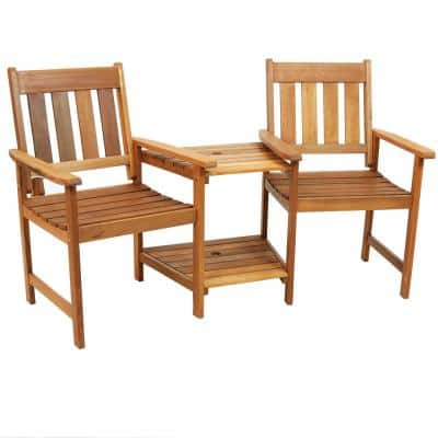Meranti 65 in. Wood Jack-and-Jill Chairs with Attached Table