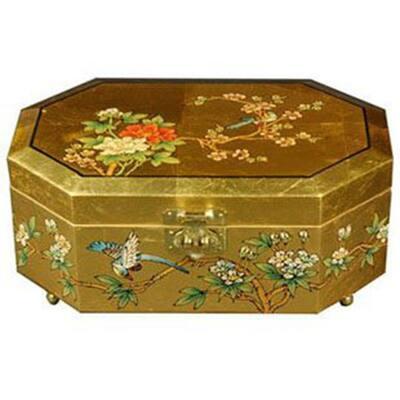 Oriental Furniture Violetta Lacquer Jewelry Box in Gold
