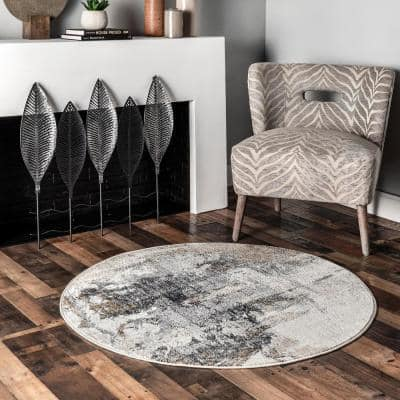 Rivera Gray 6 ft. x 6 ft. Abstract Round Area Rug