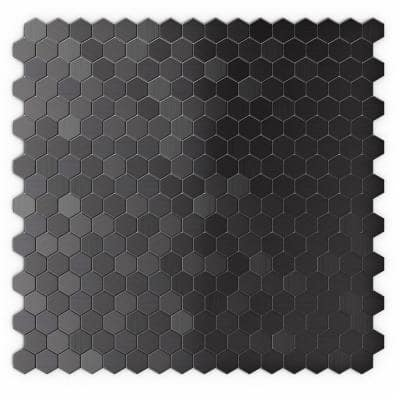 Hexagonia SB Black Stainless 11.46 in. x 11.89 in. x 5mm Metal Self-Adhesive Wall Mosaic Tile (11.4 sq. ft. / case)