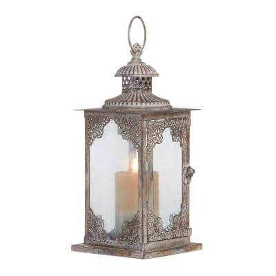 Grey Metal Vintage Candle Lantern