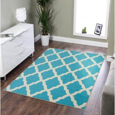 Clifton Collection Moroccan Trellis Design Blue 5 ft. x 7 ft. Area Rug