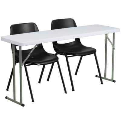60 in. Black Plastic Tabletop Plastic Seat Folding Table and Chair Set