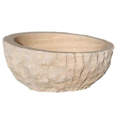 Angled Chiseled Natural Stone Vessel Sink in Beige