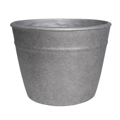 Rushmore 14 in. x 10.5 in. Gray High-Density Resin Planter