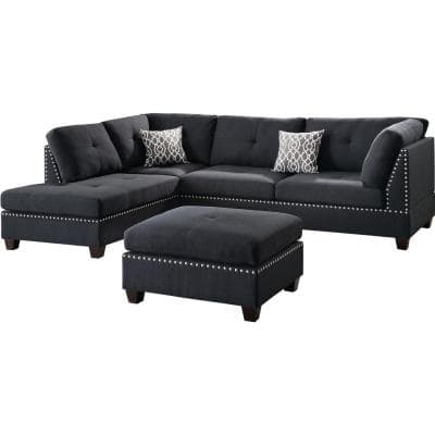 Florence 2-Piece Black Fabric 6-Seater L-Shaped Sectional Sofa with Ottoman