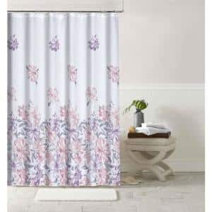 Printed Waffle 70 in. x 72 in. 13-Piece Shower Curtain Set in Bouquet