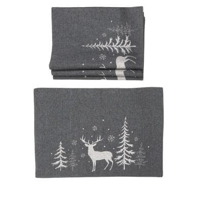 0.1 in. H x 20 in. W x 14 in. D Deer in Snowing Forest Double Layer Christmas Placemats in Dark Gray (Set of 4)