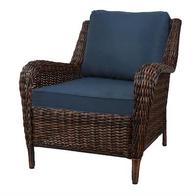 Cambridge Brown 3-Piece Wicker Outdoor Bistro Set with Blue Cushion