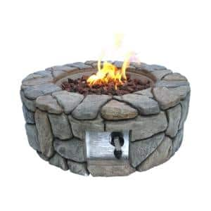 28 in. Outdoor Round Stone Propane Gas Fire Pit