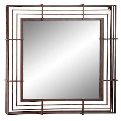 Medium Square Bronze Finish Modern Mirror (32 in. H x 32 in. W)