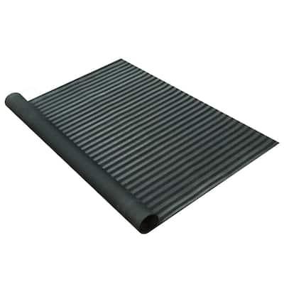 Fish-Bone Rubber Flooring Black 36 in. W x 120 in. L Rubber Flooring (30 sq. ft.)