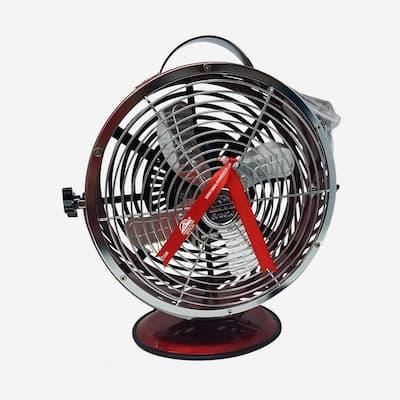 Red 10.9 in. Portable Table Fan