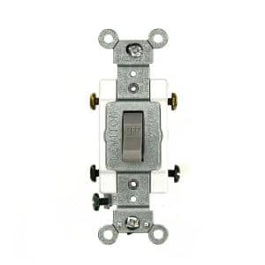 15 Amp Commercial Grade Double-Pole Toggle Switch, Gray