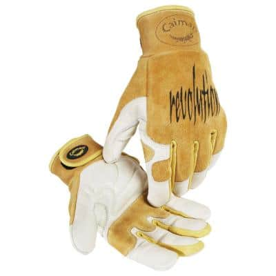 Large Gold Ergonomic Cow Grain Multi-Task Gloves