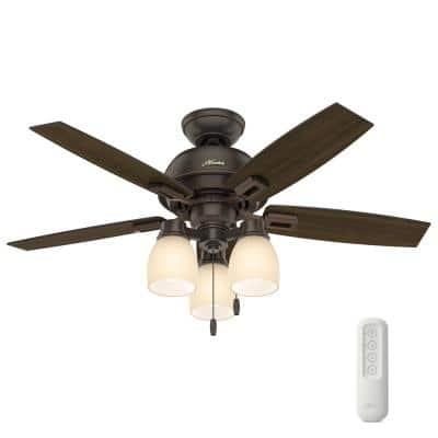 Donegan 44 in. Indoor Onyx Bengal Bronze Ceiling Fan With LED Light Kit and Remote
