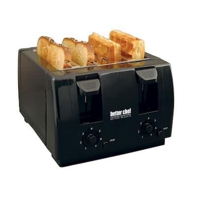 Dual-Control 4-Slice Black Toaster