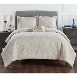 Haven Damask Comforter 4-Piece Gray Queen 100% Cotton Jacquard Weave with a Floral Pattern Comforter Set