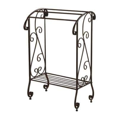 Brown 3-Bar and Shelf Classic Freestanding Towel Rack