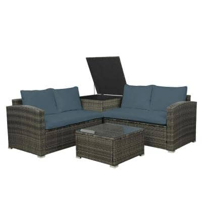Belle 4-Pieces PE Rattan Wicker Outdoor Sectional Sofa Set with Gray Cushion