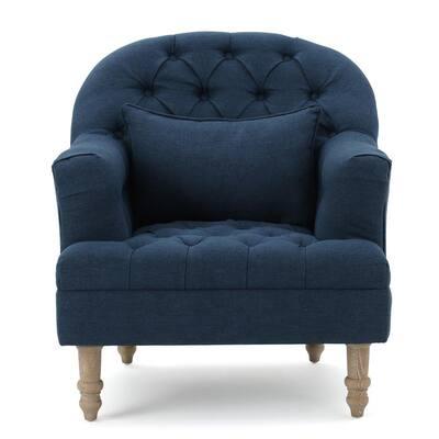 Anatasia Dark Blue Tufted Club Chair