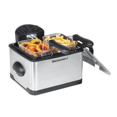 4 Qt. Deep Fryer with Dual Basket in Stainless Steel