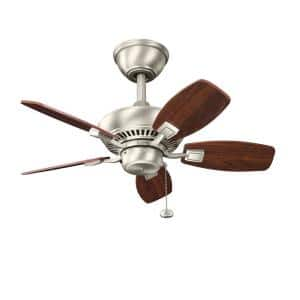 Canfield 30 in. Indoor/Outdoor Brushed Nickel Downrod Mount Ceiling Fan