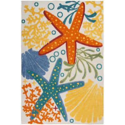 Aloha Multicolor 5 ft. 3 in. x 7 ft. 5 in. Floral Modern Indoor/Outdoor Area Rug
