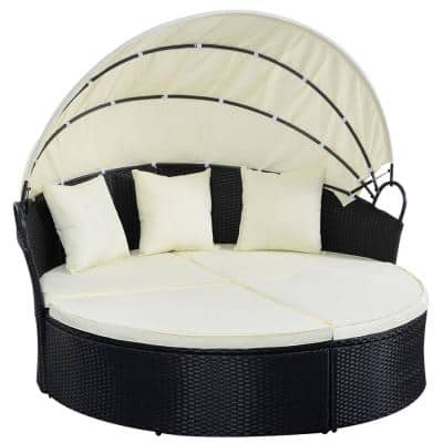Black 2-Piece Wicker Outdoor Patio Sofa Sectional Set Round Retractable Canopy Day Bed with White Cushions