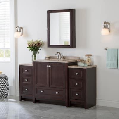 Delridge Bath Suite with 31 in. W Bathroom Vanity, Vanity Top, and 2 Linen Towers in Chocolate