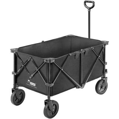 176 lbs. Capacity Collapsible Garden Cart in Black with 2 Drink Holders and Wheels