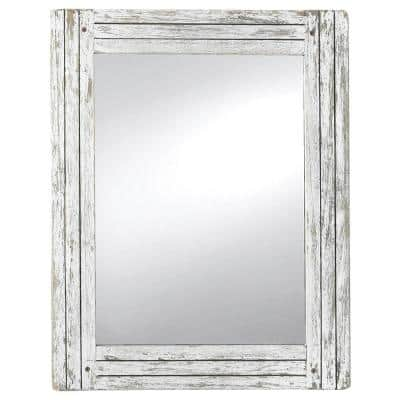 18.5 x 23.8 White Rectangle Distressed Wood Frame Wall Mirror