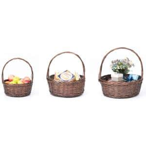 Brown Willow Bowl Baskets with Handle, Set of 3