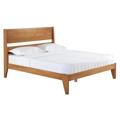 Brown Caramel Queen Solid Wood Modern Platform Bed