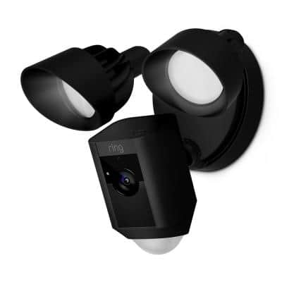 Outdoor Wi-Fi Wired Standard Surveillance Camera with Motion Activated Floodlight Black Certified Refurbished