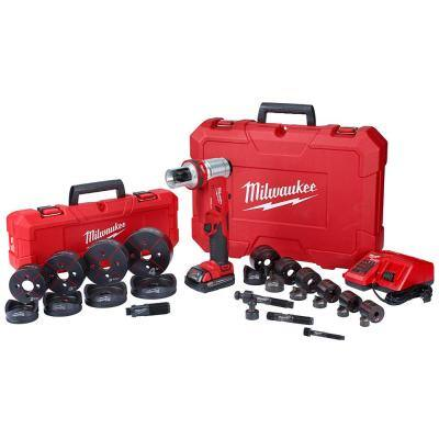 M18 18-Volt Lithium-Ion 1/2 in. to 4 in. Force Logic 6-Ton Cordless Knockout Tool Kit with Die Set, One 2.0Ah Batteries