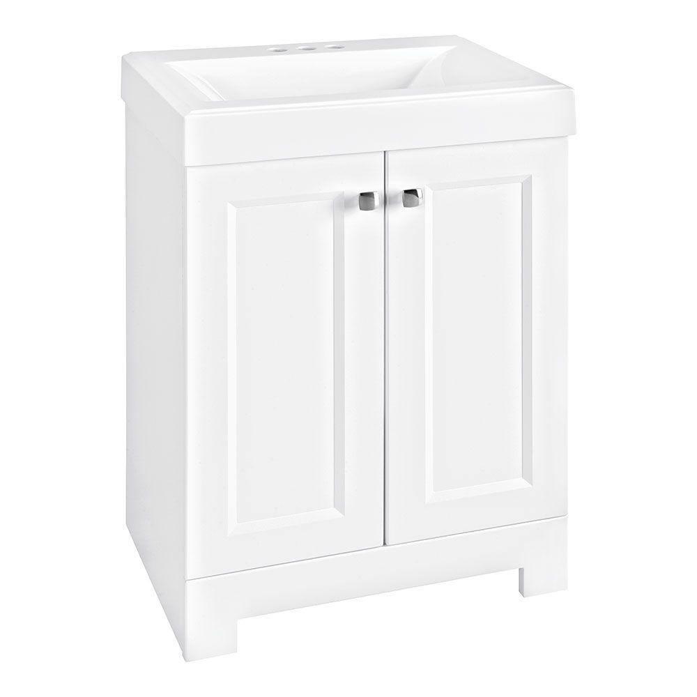 Glacier Bay Shaila 24 5 In W Bath Vanity In White With Cultured Marble Vanity Top In White With White Basin Ppsofwht24 The Home Depot