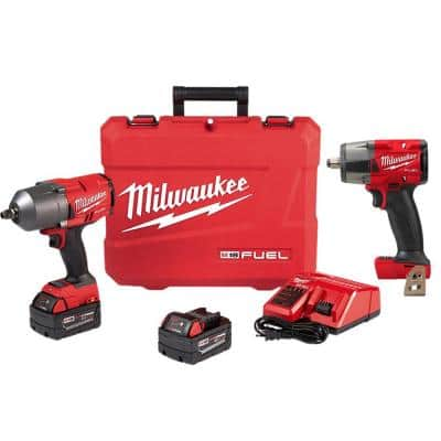 M18 FUEL 18-Volt Lithium-Ion Brushless Cordless 1/2 in. Impact Wrench Friction Ring Kit with Mid Torque Impact Wrench