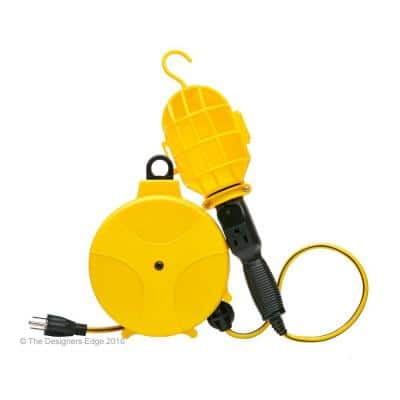 60-Watt 20 ft. 16/3 Incandescent Heavy-Duty Guarded Trouble Work Light with Plastic Retractable Cord Reel