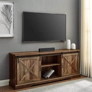 70 in. Reclaimed Barnwood Wood and Metal TV Stand Fits TVs up to 80 in. with Sliding X Barn Doors