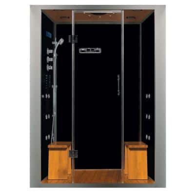 Galaxy 60 in. x 32 in. x 87 in. Steam Shower Enclosure Kit with 4.2kw Generator in Black