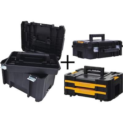 TSTAK VI 17 in. Deep Tool Box, TSTAK II Deep Tool Box and TSTAK IV Small Parts Organizer Combo Set (3 Components)
