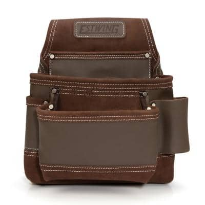 9-Pocket Leather Contractor's Tool Belt Pouch