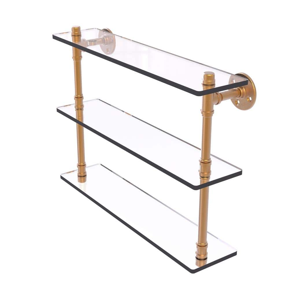 Allied Brass Pipeline Collection 22 In Triple Glass Shelf In Brushed Bronze P 440 22 Tgs Bbr The Home Depot