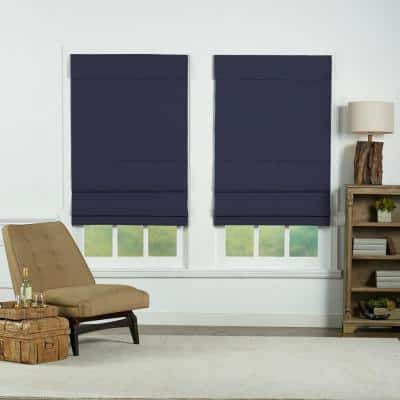 Navy Cordless Blackout Energy-Efficient Cotton Roman Shades 33 in. W x 72 in. L