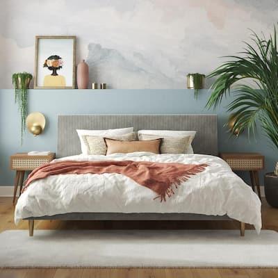 Daphne Light Gray Velvet Upholstered King Bed with Headboard and Modern Platform Frame