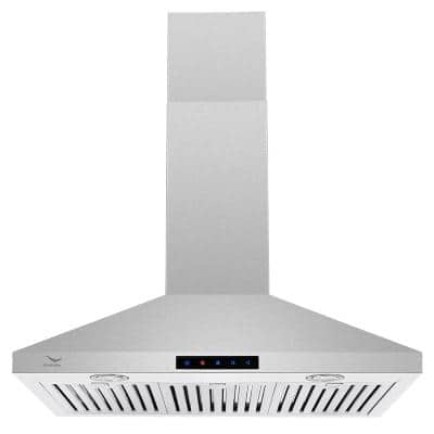 30 in. 480 CFM Ducted Wall Mount Range Hood in Stainless Steel with Baffle Filters, LED Light, Touch Screen Control