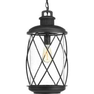 Hollingsworth Collection 1-Light Textured Black Clear Seeded Glass Farmhouse Outdoor Hanging Lantern Light